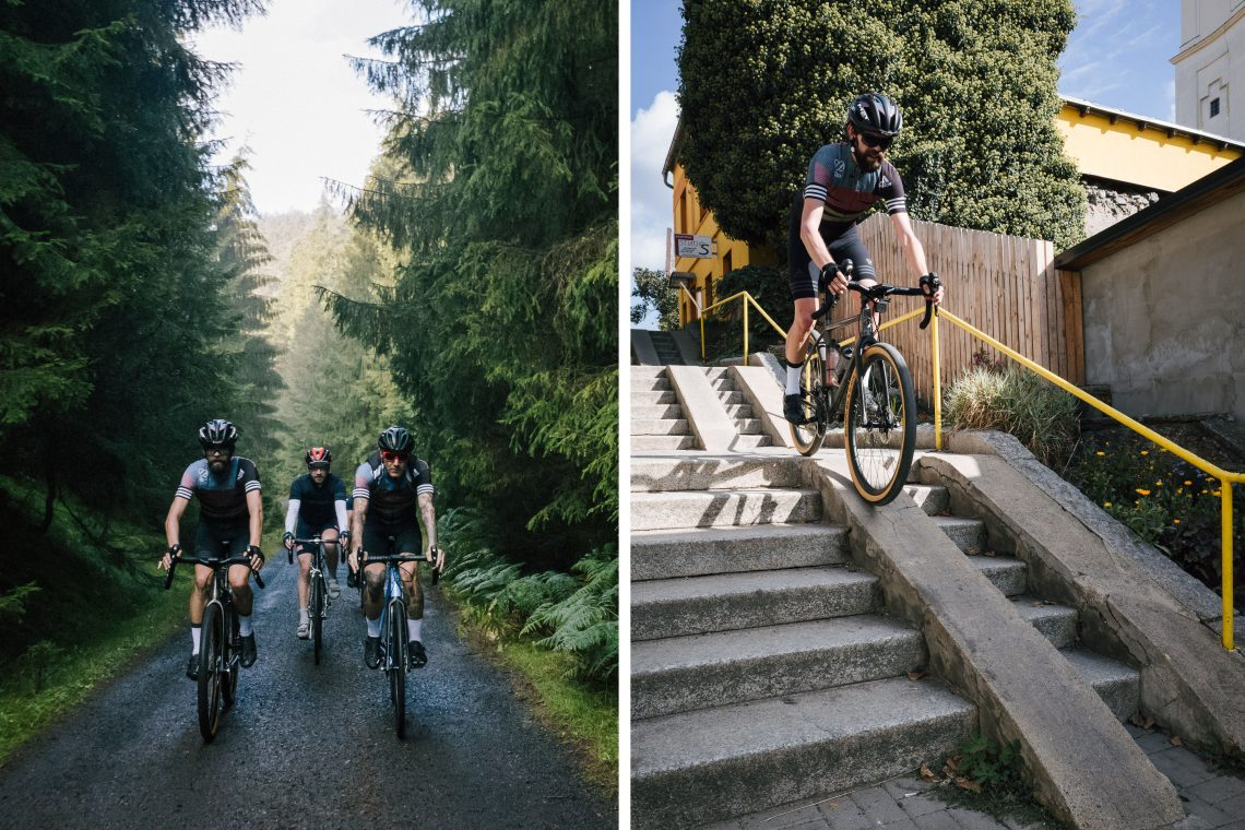 Image composed of two pictures. On the left are 3 cyclists riding through a forest. On the right is the picture of a man riding a raw 8bar mitte down stairs.