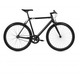 Black bike on a white background. 8bar fhain singlespeed bike