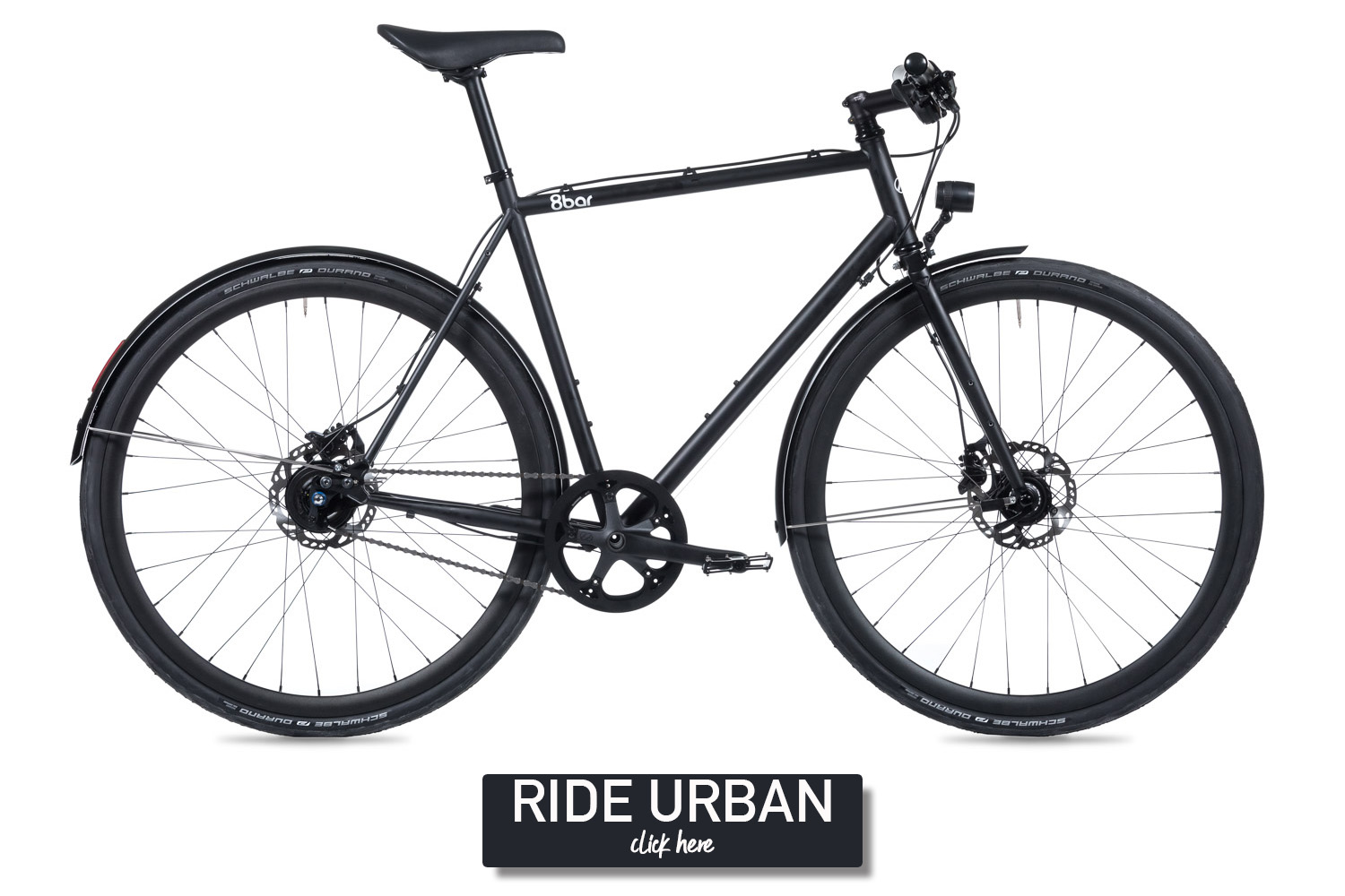 Black bike on a white background.The bike is an 8bar Mitte Steel Urban with fenders, lights and disc brakes.