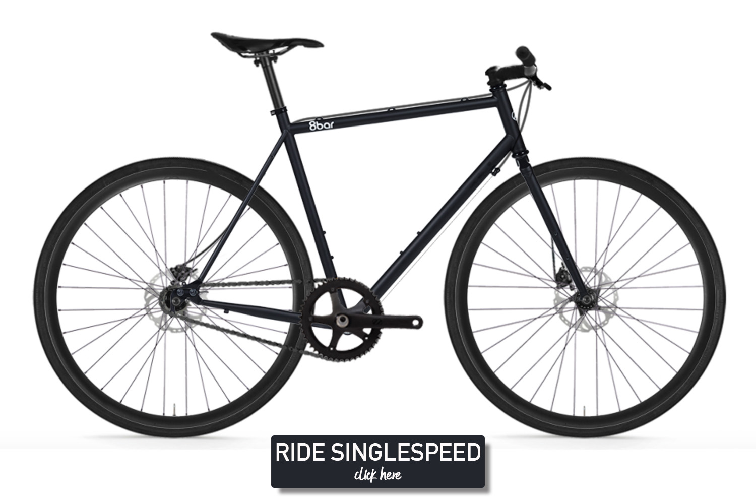 Black bicycle on a white background. It is an 8bar Mitte Steel singlespeed with disc brakes.