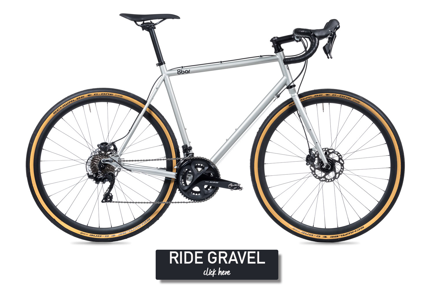 Silver grey bike on a white background.It is a silver grey 8bar Mitte Steel with skinwall tires,disc brakes and Shimano 105 groupset.