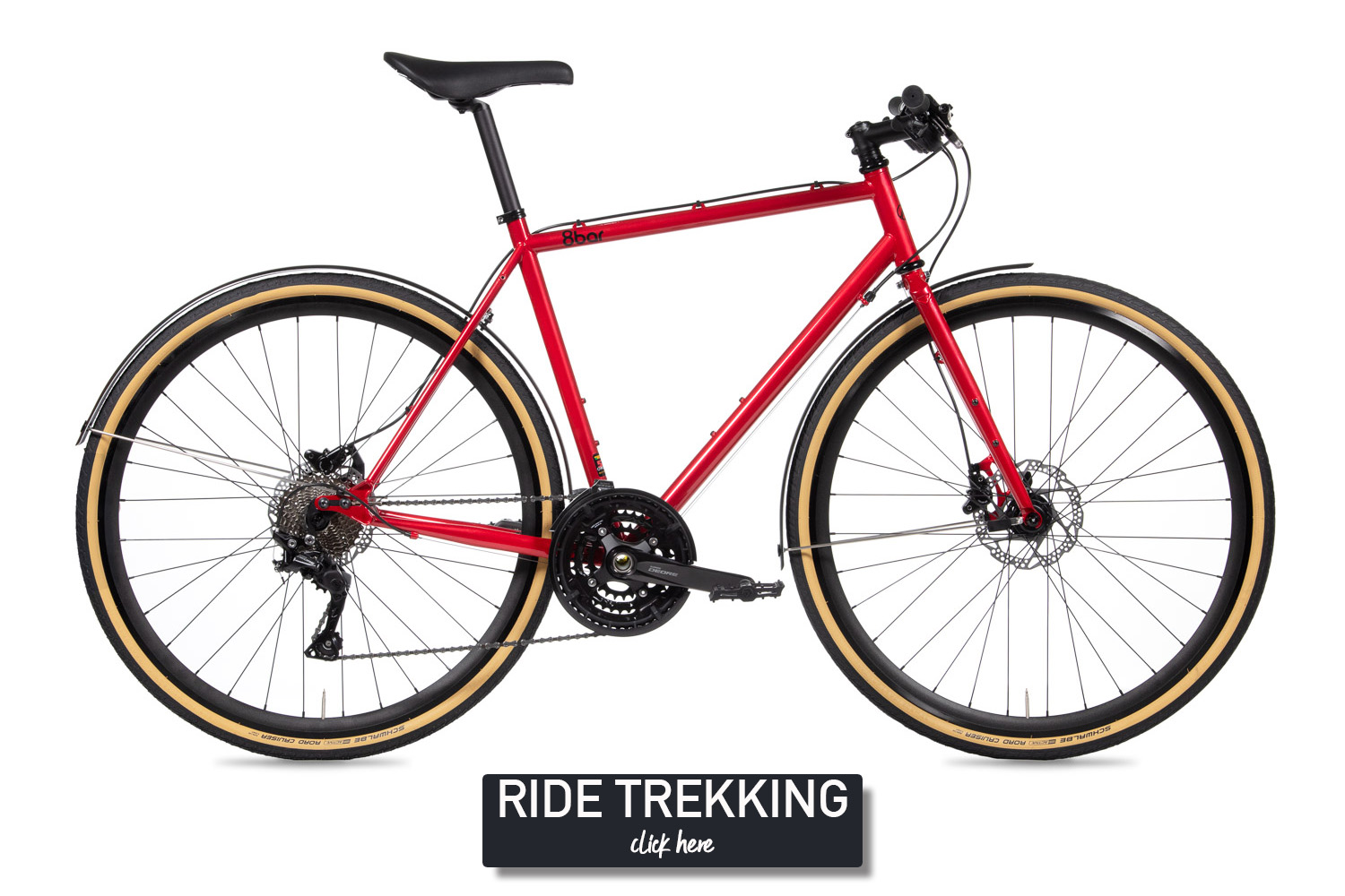 Red bicycle on a white background. It is an 8bar Mitte Steel trekking with fenders, skinwall tires and disc brakes.