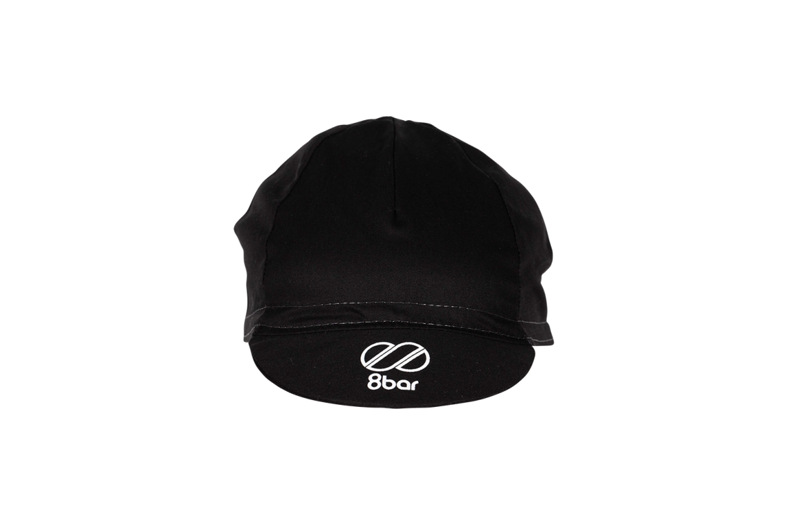 Full black cycling cap with white 8bar logo