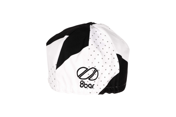 Black & white cycling cap with geometric pattern