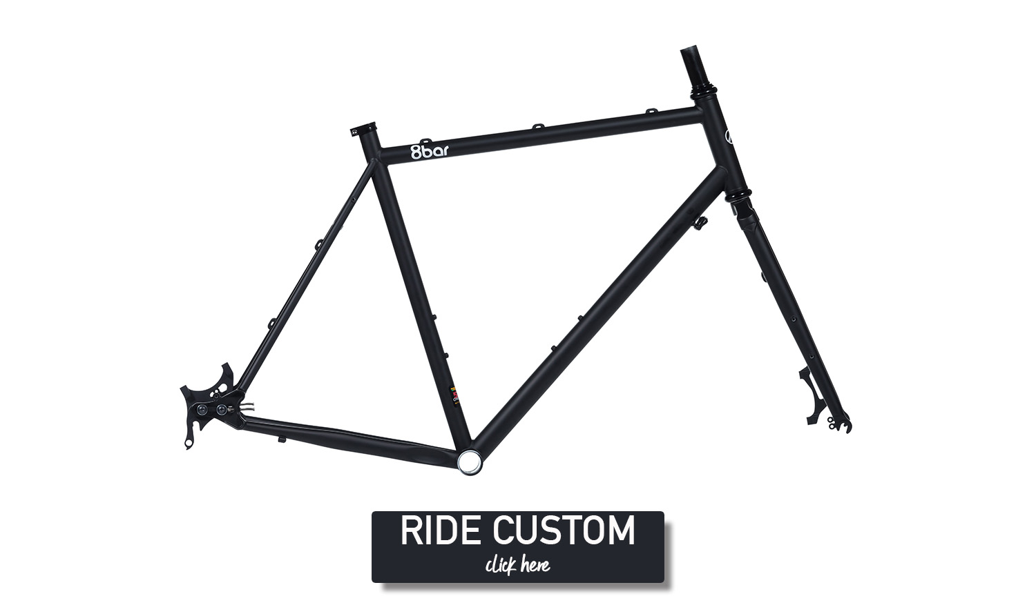 "Picture on a white background of a black bicycle frame. The frame is an 8bar Mitte steel full black. In the bottom of the picture is a little black rectangle in which is written :""Ride custom, click here"""