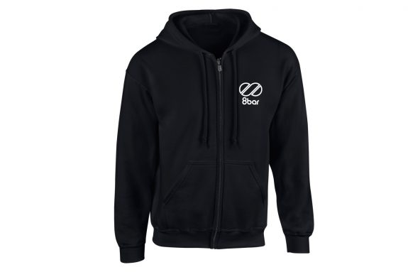 8bar black hoodie with reflective 8bar logo