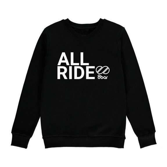 8bar black sweatshirt with reflective all ride logo
