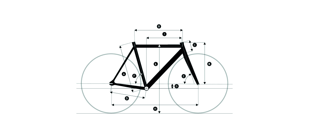 Drawing explaining the bike geometry of a track bike. White background