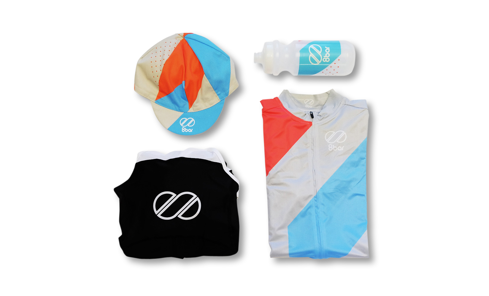 Clothes on a white background. 8bar club edition jersey, bib, cycling cap and cycling bottle.